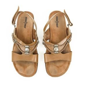 MINNETONKA Brown Leather Indian Braided Sandals